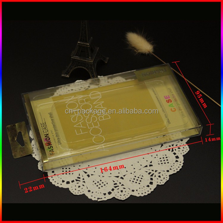 Golden cardboard with plastic box /protective shell packaging / phone case packaging box