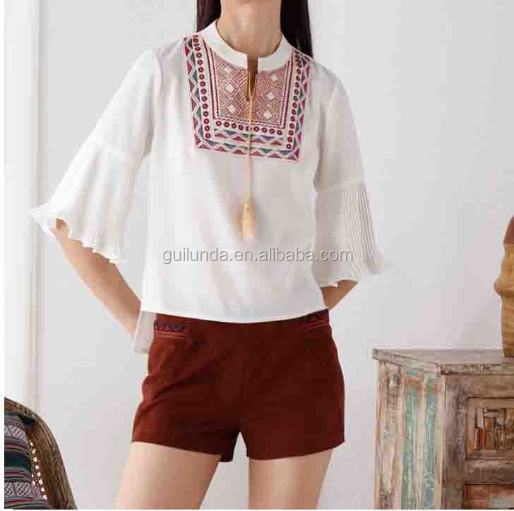 Alibaba female bodycon embroidered flare sleeve blouses design 2017