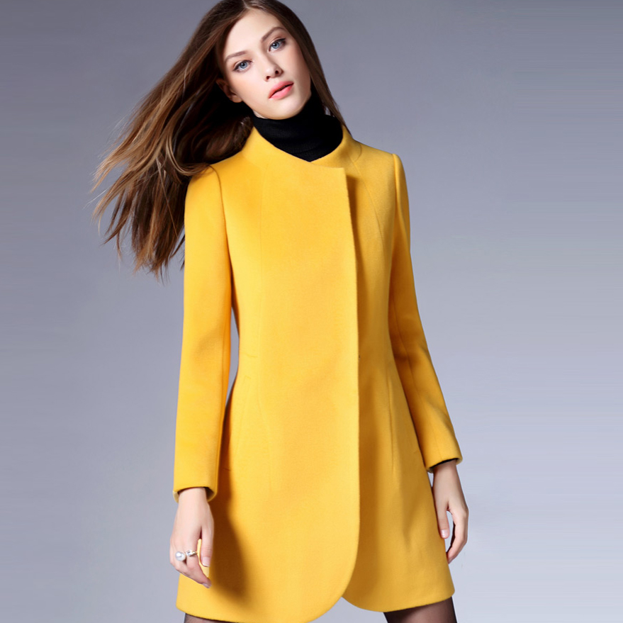 f710f9ed34f5f Bright yellow Cashmere wool coat Collarless Long jacket cheap woolen  overcoat for women