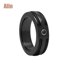 Black stones stainless steel wire inlay black zirconium ring for wedding