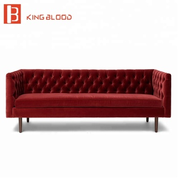 On Tufted Velvet Fabric 3 Seat Couch Living Room Furniture Sofa