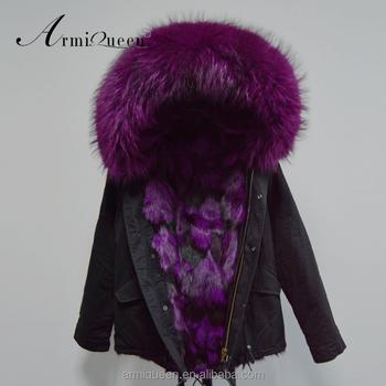 Oem 2017 Clothing Purple Black Woof Fur Lined Jacket With Raccoon