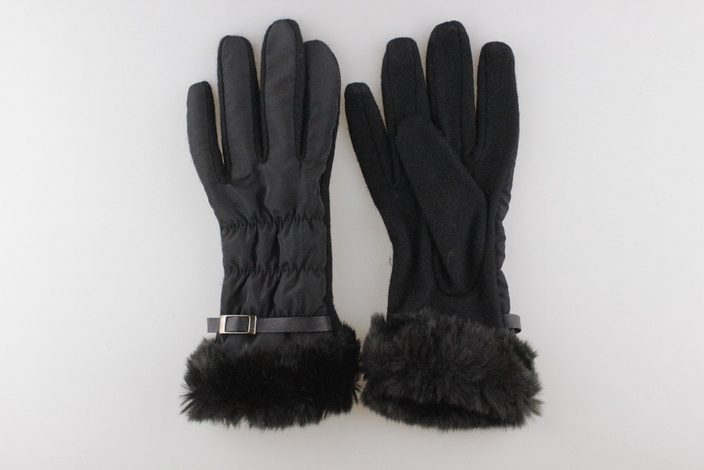 Women black cloth with wool gloves,fake fur cuff and cheap price