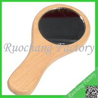 Hottest Natural Wooden Mirror,Mini Wooden Mirror with Short Handle