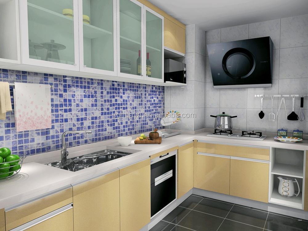 2017 Terbaru Aluminium Model Kabinet Dapur Gloss Tinggi Lemari Desain Yang Sederhana