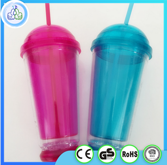 450ml led double wall acrylic tumbler with straw
