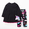 R&H Black Spring Kids Boutique Outfit Easter Clothes Set Wholesale Children's Boutique Girl Clothing