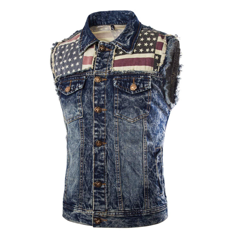 Jwhui Men Denim Vest Jeans Vest Men Cowboy Vest Denim Sleeveless Printed Patchwork Jacket Men