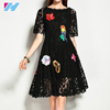 Yihao Wholesale summer big size dress women fashion casual elegant floral embroidery black party lace dress