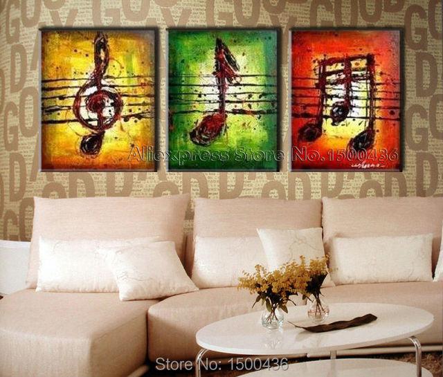 acheter peint la main classique l 39 huile de note de musique peinture moderne. Black Bedroom Furniture Sets. Home Design Ideas