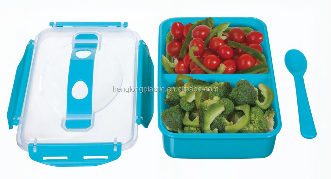 BPA Fee Microwave Tiff Blue 1.1L Plastic Bento Lunch Box Kids Lunch Box With Spoon