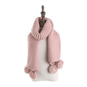 Spring warm romantic pink women knitting wool trendy textile scarfs