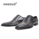 VIKEDUO Handcrafted Shoemaker Buy Luxury Men's Oxfords Leather Dark Grey Patina Italian Luxury Men Shoes