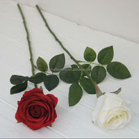 Cheap artificial red rose flower wedding high quality artificial silk rose flowers