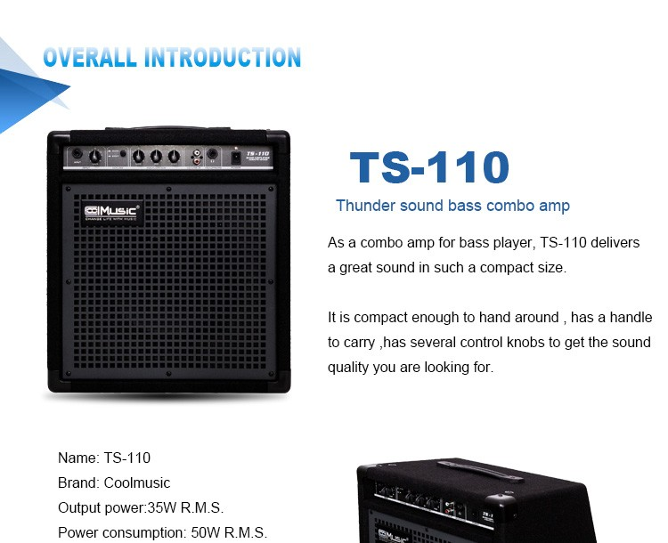 Coolmusic 35w 10 Inch Professional Bass Guitar Practice Amplifier ...