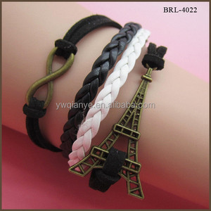 fashion jewelry wholesale, handmade custom infinity black fake leather bracelet