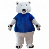 Tee color changeable furry giant polar bear mascot costumes for adult polar bear mascot