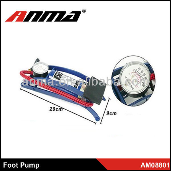 Single tube aleas air pump with pressure gauge