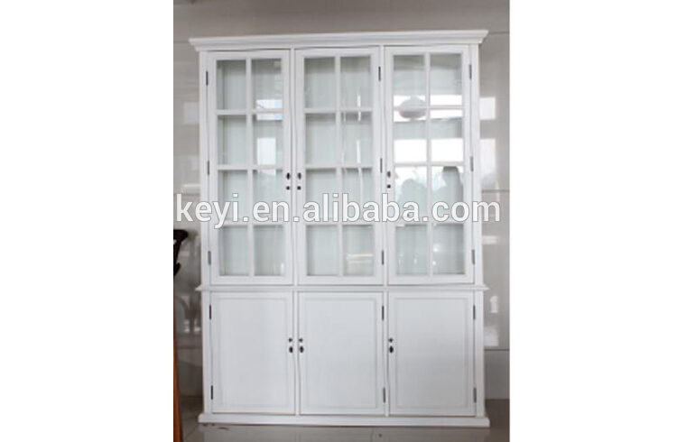 Antique Home Useful Living Room And Study Room White Wooden And Glass Tall Display  Cabinet With Part 42
