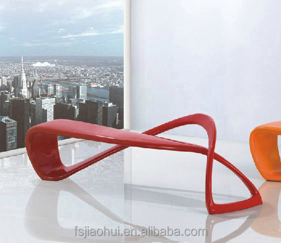 Funky Style Indoor & Outdoor Furniture Fiberglass E-Turn Sculptural Patio Benches