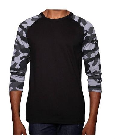 8593b8a6 Custom Raglan Camo T Shirt/3/4 Sleeve Raglan T-shirt Mens Baseball T ...