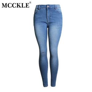 MCCKLE Women's Knee Ripped Blue High Waisted Denim Jeans Pants Skinny Slim Fit Pencil Jeans Woman Female Jeans