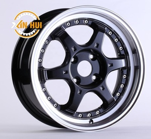 14 15 inch auto rims China ET 35 black jant 4/8 hole 4x4 design racing wheel fit for light truck