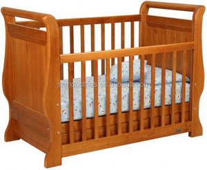classic sleigh design and top level quality 3-in-1 wooden baby cot