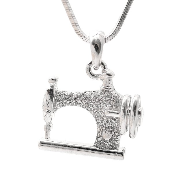 ECO-Friendly Zinc Alloy Silver Tone Sewing Machine Pendant Necklace For Women