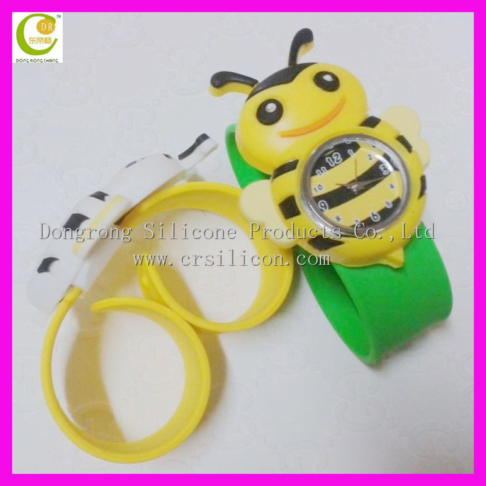 3D international bee lovely shape silicone wrist watch/transparent wrist watch
