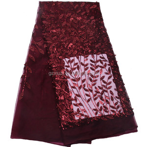 Wine Red Sequins French Lace Embroidery Beaded Tulle Lace Africa Net Lace For Bridal Dresses