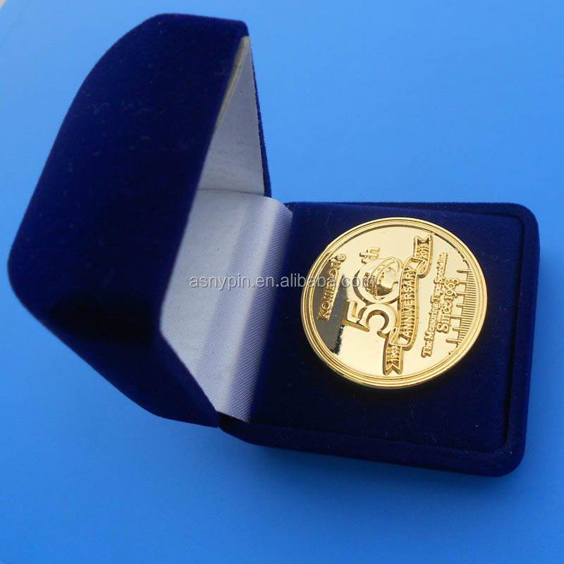 3D gold logo anniversary year challenge coin with black gift box