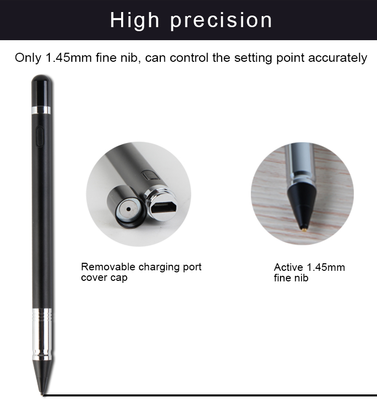 2017 new 1.45mm Best sale precise tip metal capacitive stylus pen active for IOS and Android system