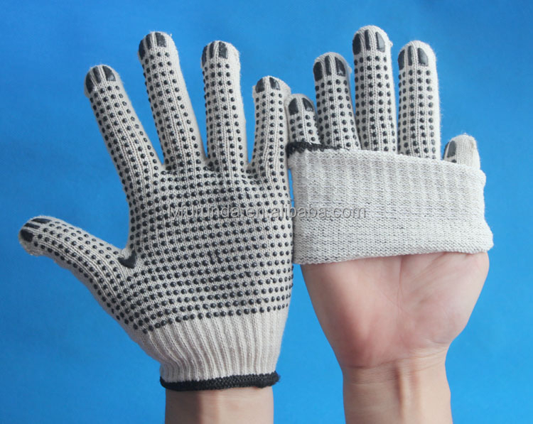 Natural white cotton gloves coated with pvc dots on palm cheap white cotton gloves