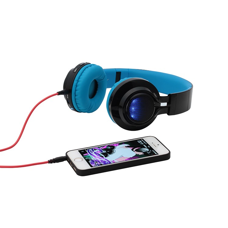 Super metal bass overhead bluetooth mp3 headset micro TF memory card