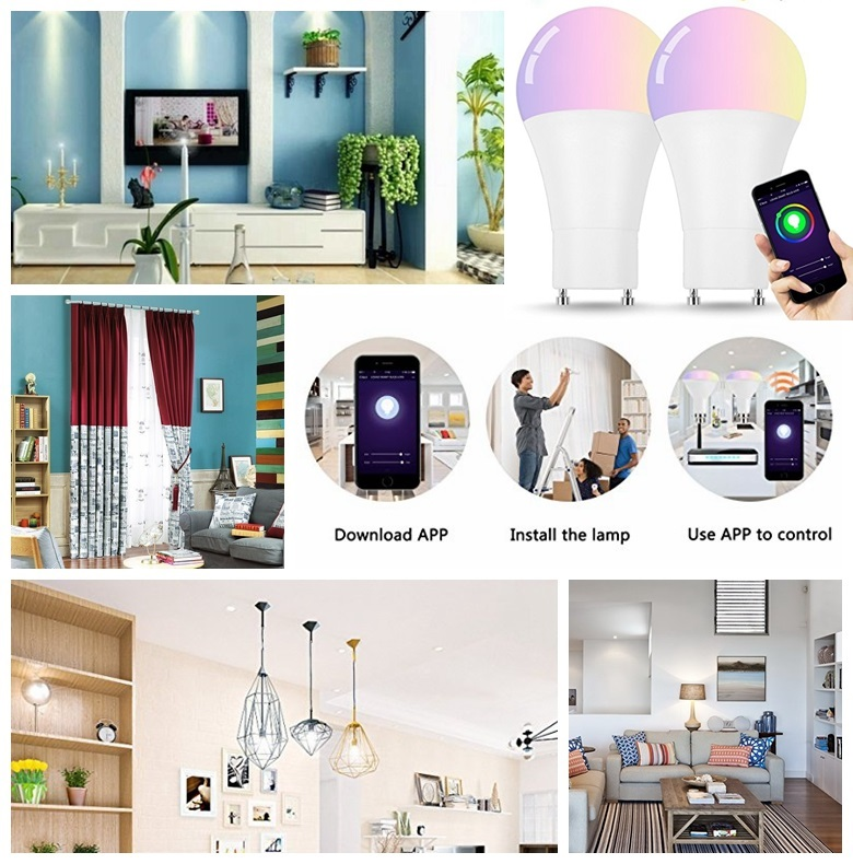 9W A60 GU24 WiFi Smart LED Bulb Amazon Alexa Voice Controlled RGBW LED Light Bulb