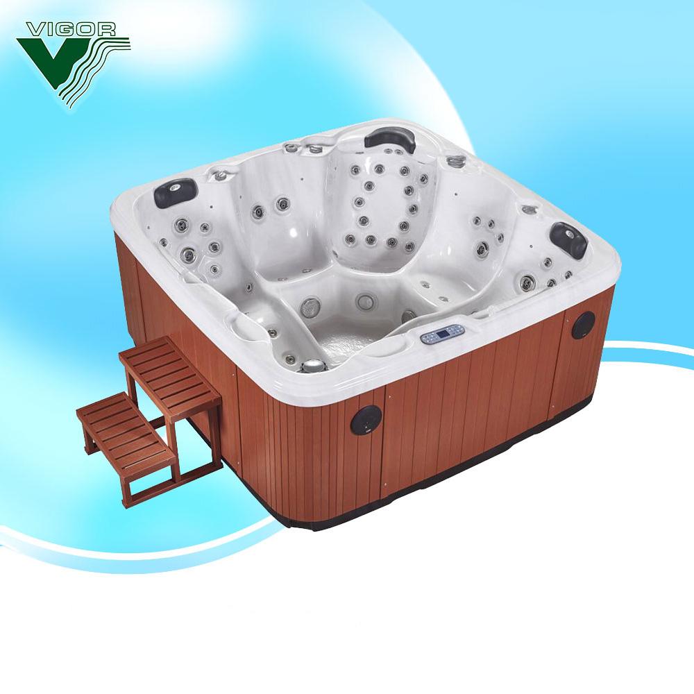 Spa Pool,Oval 5 Person Hot Tub,Air Bubble Spa Alpine Wooden Barrel ...