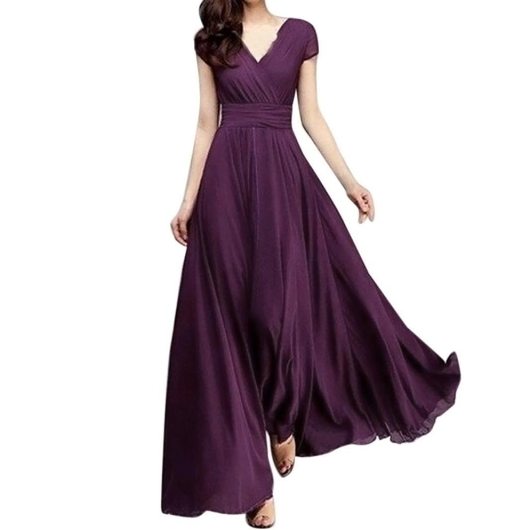 ❤️ZYEE❤️ Women dress Women Casual Dress,Loose Solid Chiffon V-Neck Evening Party Long Summer fasionDress❤️ZYEE❤️