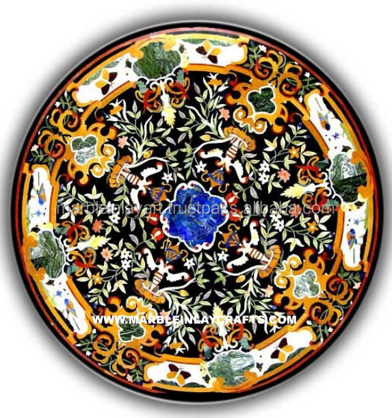 Round Inlay Table Marble Tops