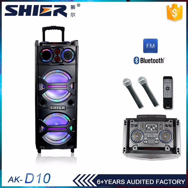 "Professional Manufacturer in GuangZhou custom wholesale 10"" active speaker double woofer"