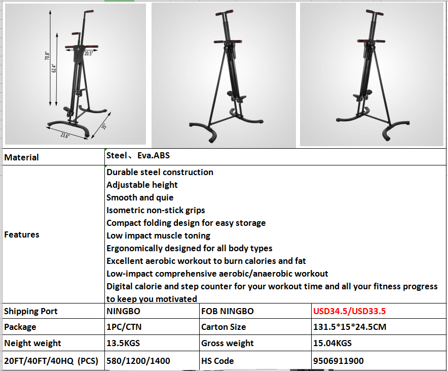 Vertical Climber Stepper Climbing Stairs Exercise Machine with Resistance Ropes