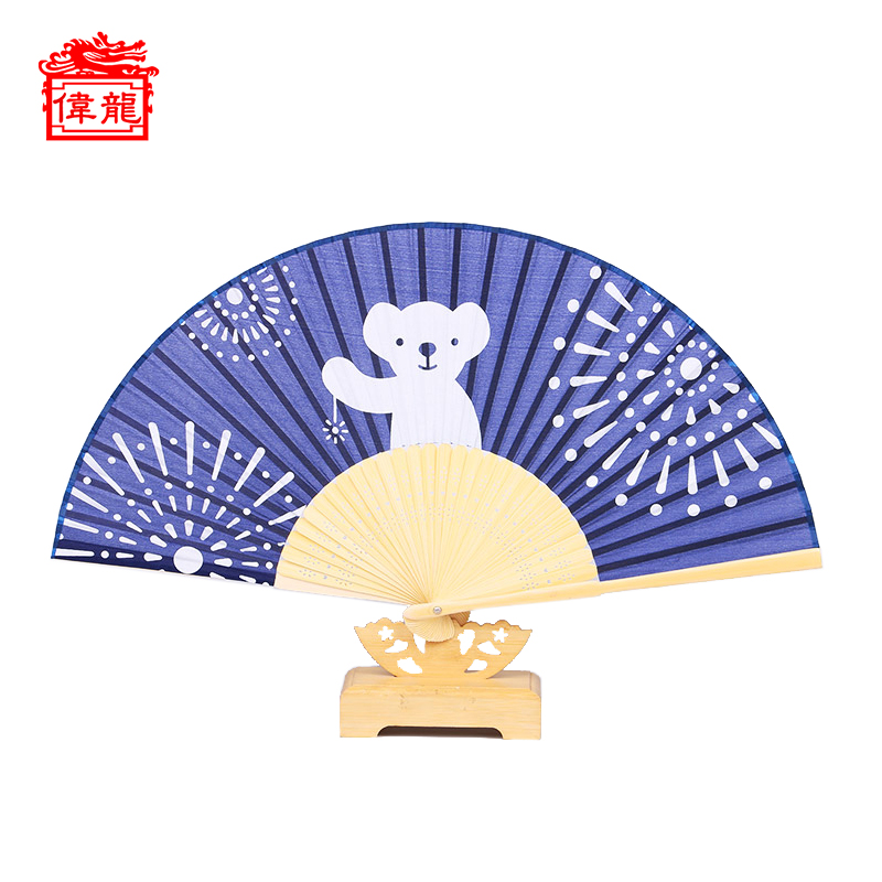 High End Customization Custom Japanese Silk Fabric Folding Hand Fan HPDZ-114