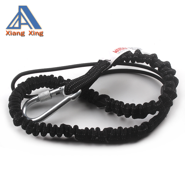 High Quality Work Safety Coil Tool Lanyard with Single Carabiner and Adjustable Loop End