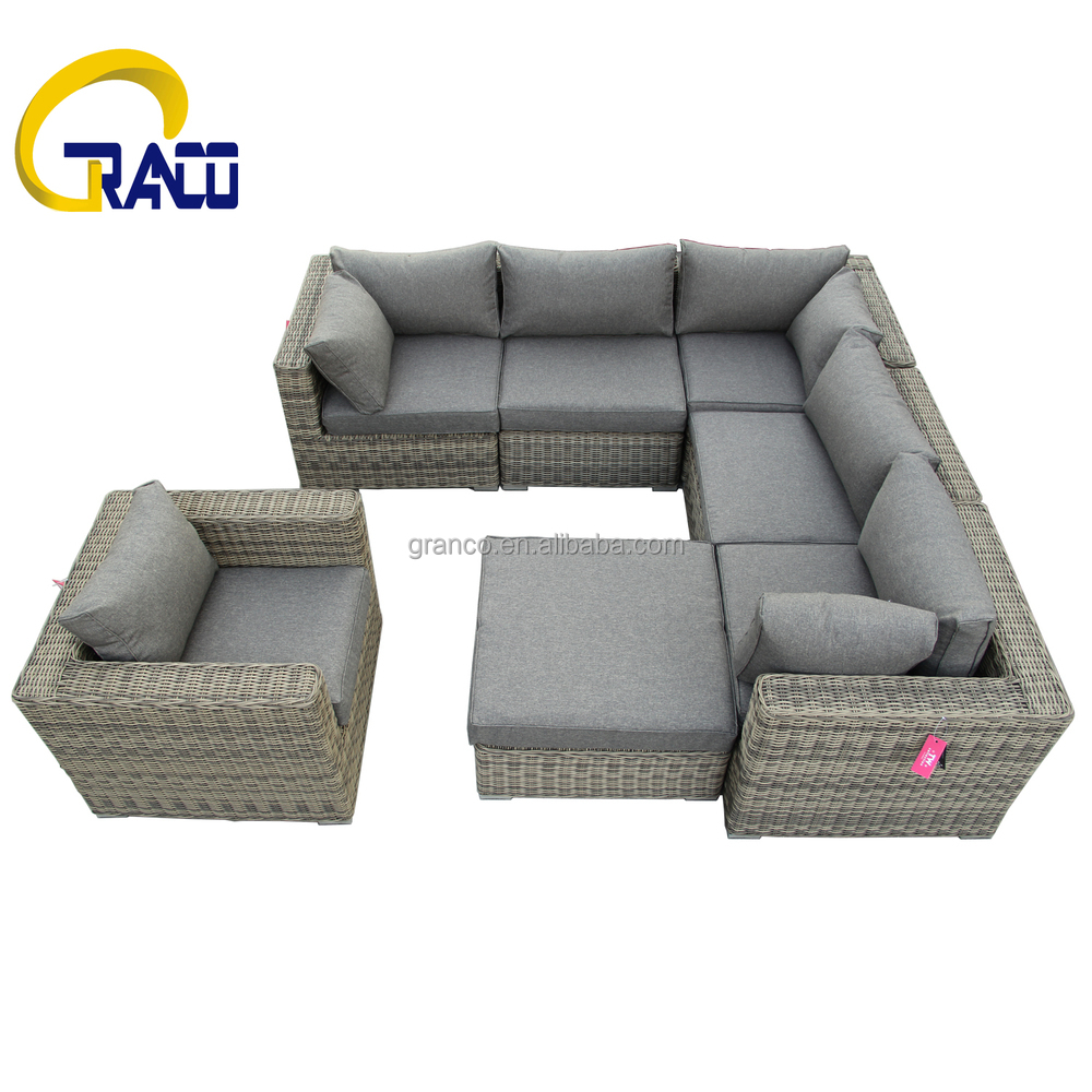 de haute qualit en plein air demi rond en osier mobilier de jardin canap canap en osier rotin. Black Bedroom Furniture Sets. Home Design Ideas