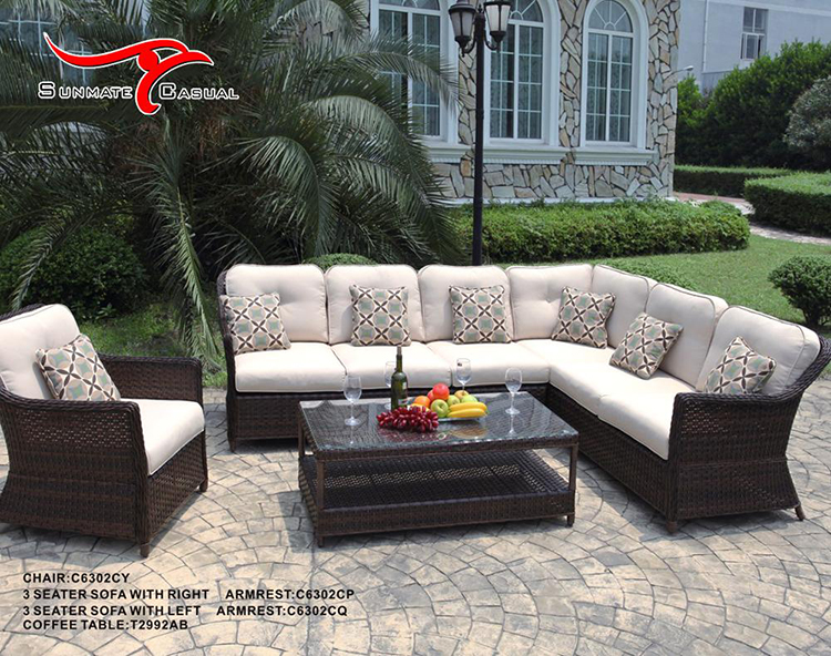 Garden Furniture Outdoor Patio Rattan Wicker Sectional Sofa Set With Coffee Table
