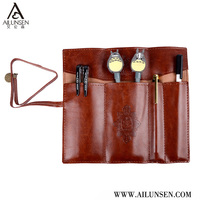 High Quality Custom Real Leather Roll Up Pencil Case