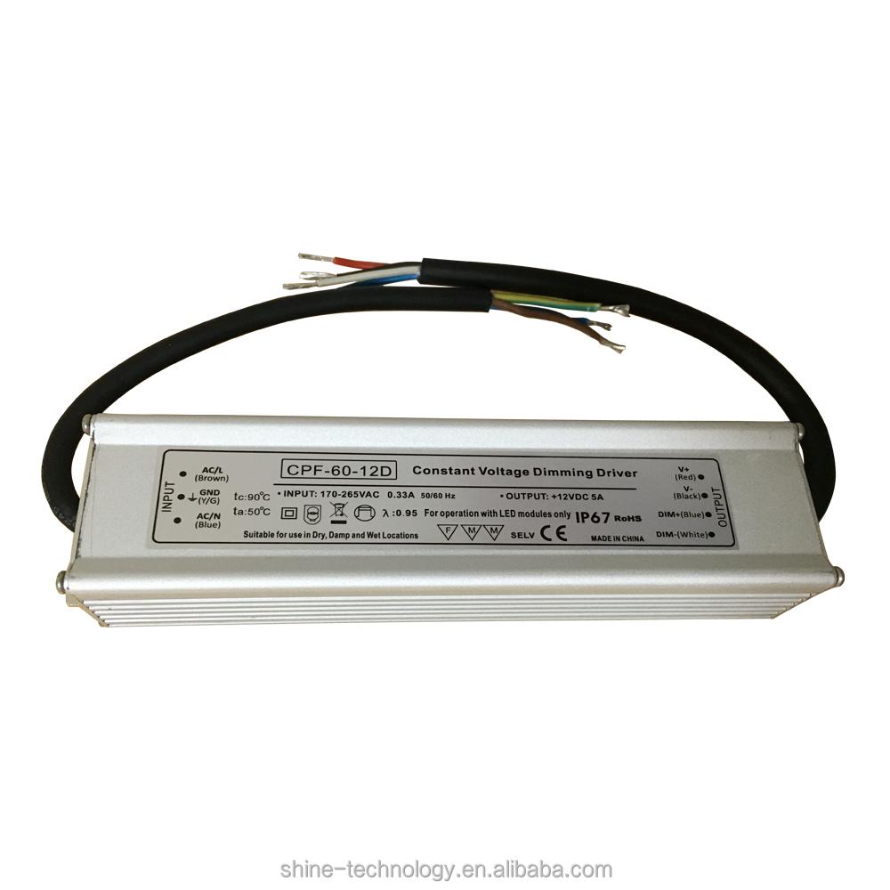 High efficiency rainproof series constant voltage single output 60w 12v 5 amp constant voltage dimmable led driver