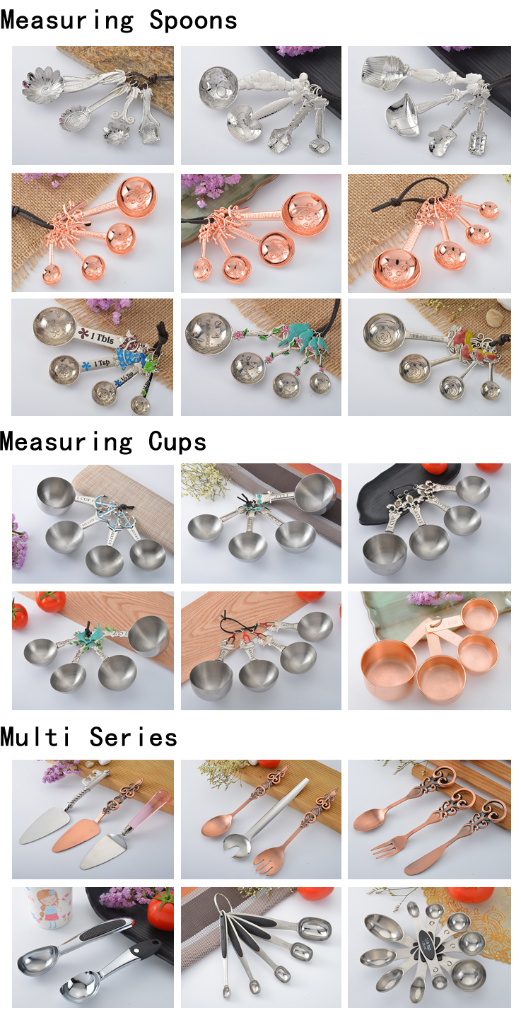 eco-friendly custom logo cheap stainless steel measuring cups and spoons