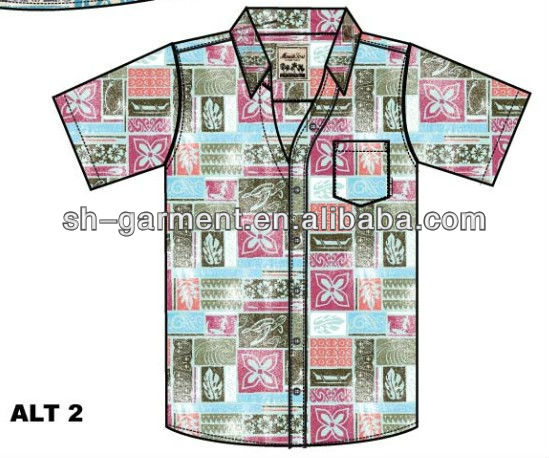 MENS PRINTED HAWAIIAN SHIRT V580