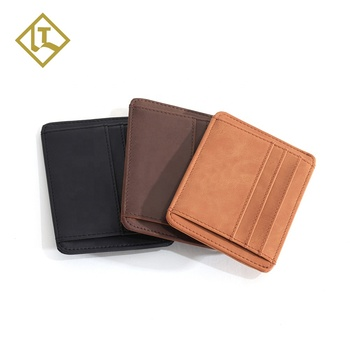 Slim minimalist promotion low price handmade wallet full grain crazy horse leather holder custom rfid card wallet